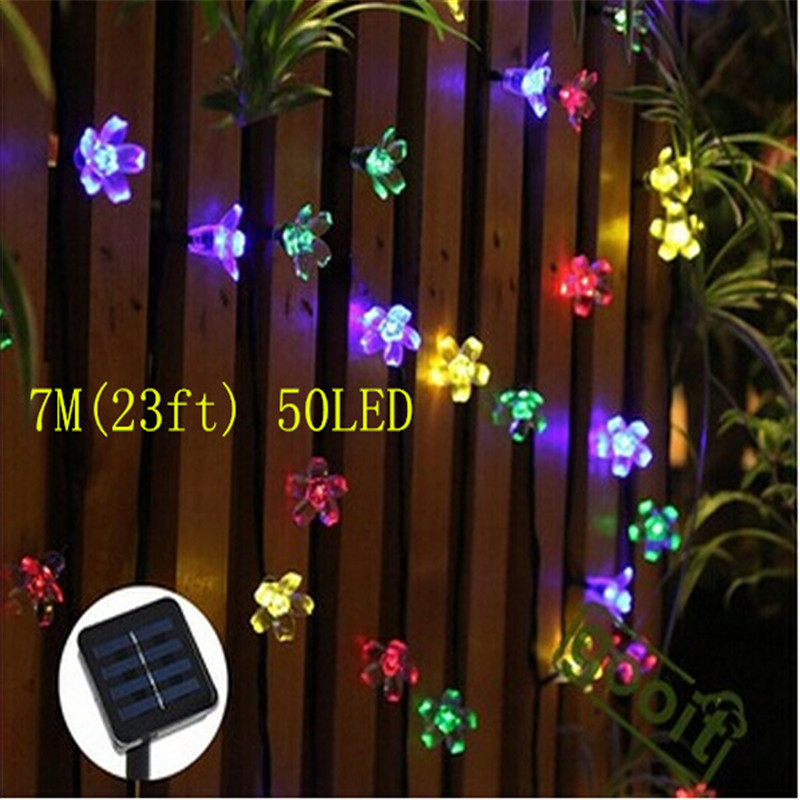 7m 50leds peach flower solar outdoor light led garden. Black Bedroom Furniture Sets. Home Design Ideas