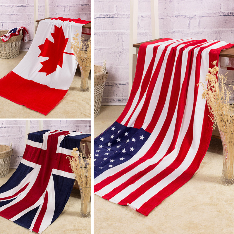 Bath Rowel Cotton Summer Style Beach Towel US UK Flag Print Toalla Playa High Quality Towel Swim Sea 140x70cm toalha de banho(China (Mainland))