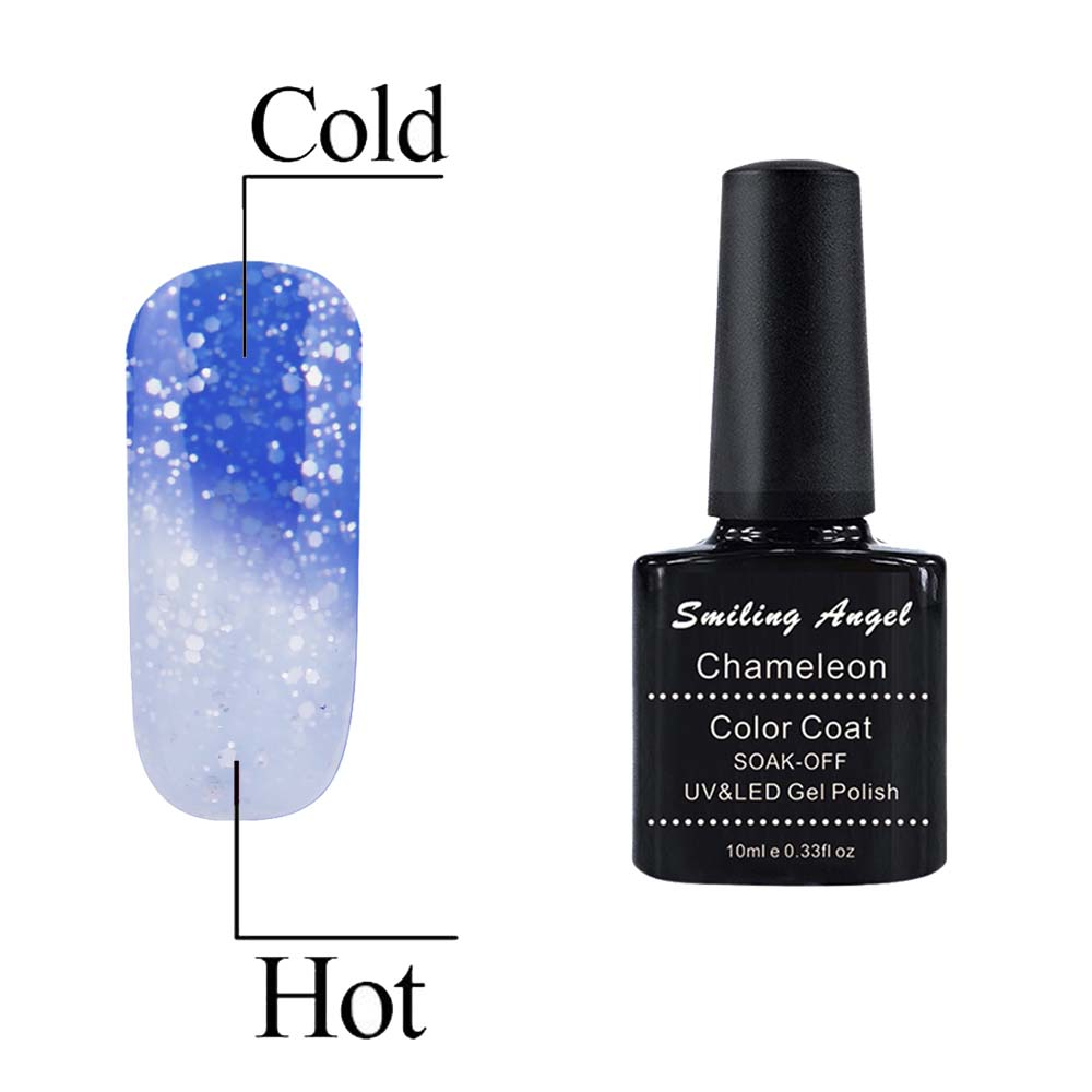 Smiling Angel Temperature Chameleon Thermal Color Change Long Lasting UV LED Soak Off Gel Nail Polish 10ml Bling Blue 5730(China (Mainland))
