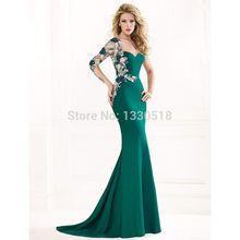 Sweetheart dresses Mermaid Appliques Lace Long Sleeves Floor Length vestidos de fiesta Plus Size Evening Dresses 2016 Hot Sale(China (Mainland))