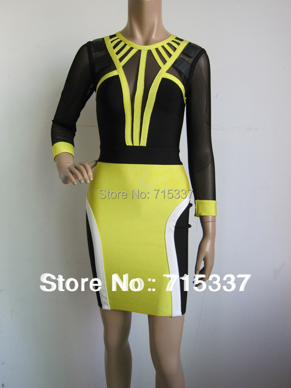 Free Shipping Bree Yellow Celebrity dress   Black Mesh Bandage Dress 2014 New Arrival Одежда и ак�е��уары<br><br><br>Aliexpress