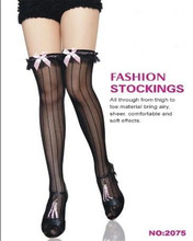 2075 Black sexy stockings pink small bowknot wholesale and retail striped stocking ohyeah brand breathable fashion stockings