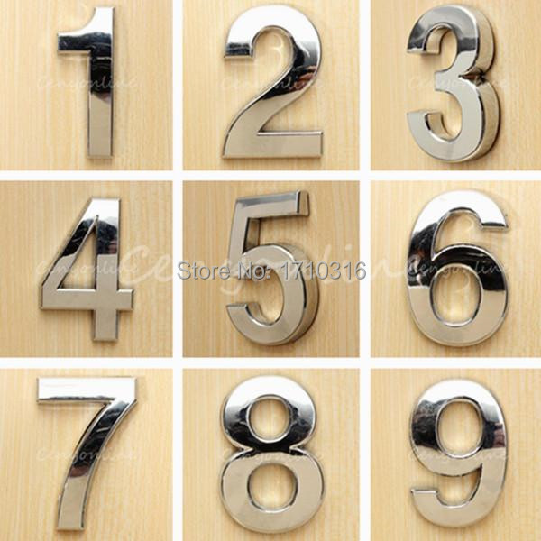 New Modern Silver House Hotel Door Address Plaque Number Digits Sticker Plate Sign Size 50x30x6mm Convinient Room Gate Number(China (Mainland))