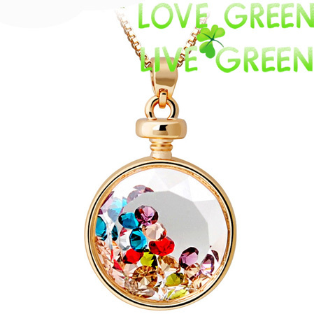 New Arrival hotselling famous brand austrian crystal Vintage Perfume Bottle Drop Pendants Choker Necklaces Jewelry 3556(China (Mainland))