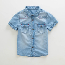 2016 new summer boy's denim shirts cotton denim children's shirts kids boy's summer clothing 3-10 year old 16359