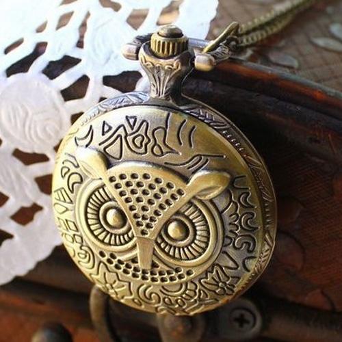 Античная сова латунь кварты винтаж ретро карманные часы-кулон с цепи для женщин