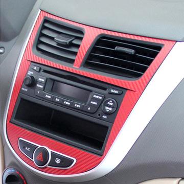 Carbon fiber sticker Car interior decoration 4pcs For Hyundai Solaris Verna 2010-2012(China (Mainland))