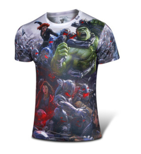 M002 Fire The Avengers related products super hero T-shirt for male in summer Black Widow The Hulk printed warm-blooded Creative(China (Mainland))