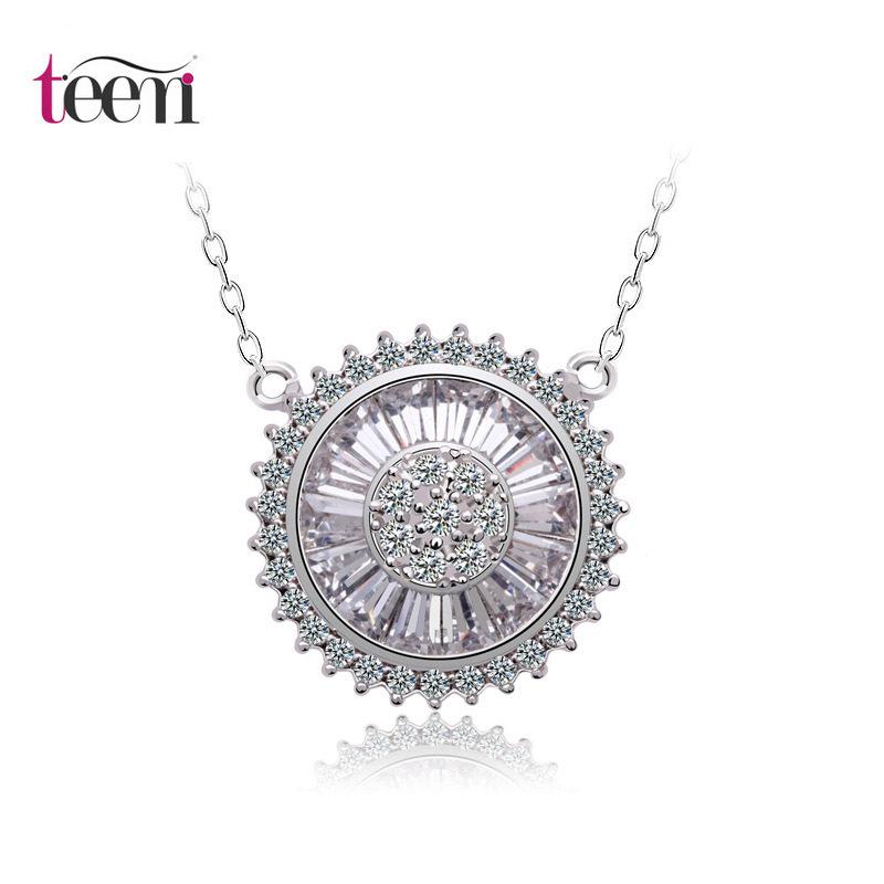 Teemi UK Design High Quality Luxury Platinum Plated Mircopave Lady Bid Round Pendant Necklace For Women Tops Fashion Gif Jewelry(China (Mainland))