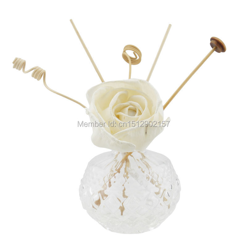 FREE-SHIPPING PURISMSTYLE ROMANCE RETRO VINTAGE FRAGRANCE SOLA FLOWER ESSENTIAL HOMELIVING DECORATION GLASS REED OIL DIFFUSER(China (Mainland))