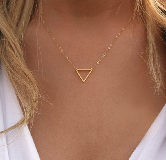 Fashion Lady Women Necklaces & Pendants Jewelry Brief Geometric Hollow Triangle Alloy Chokers SN726 - Shero Shop(Min,order $ 10+Gift store)