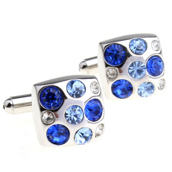 2017 New High Quality Cufflinks Two Color Combined Blue Crystal Cufflinks Square Cuff Links For Mens Cufflink Shirts(China (Mainland))