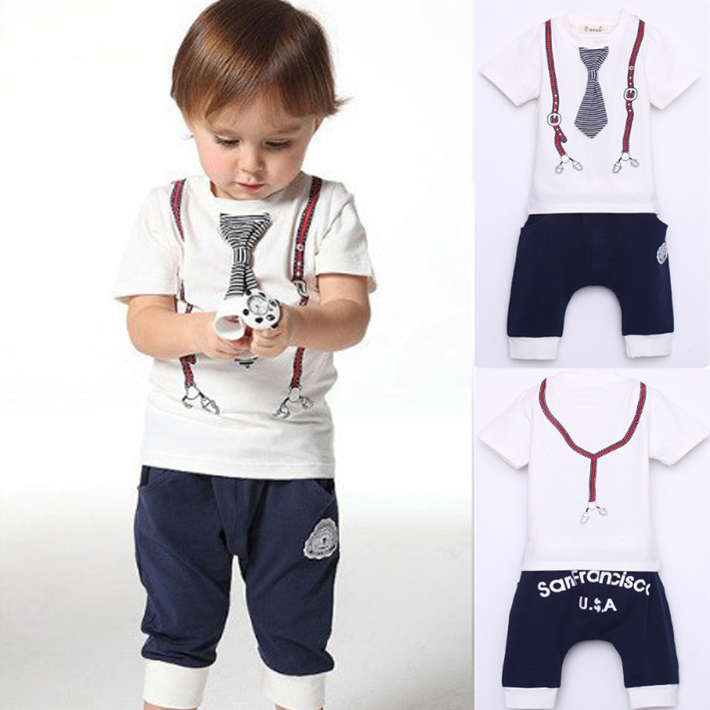 Free Shipping New Brand Cute Kids Baby Boy Cotton Tie Belt Print Top T Shirt long Pants 1-5Y Multple Color Baby Suit Outfits(China (Mainland))