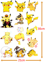 Free Shipping (8 pieces/lot) Pokemon Cartoon PVC Sticker Pocket Monster Lovely Pikachu Eevee High Quality Decoration A4 Stickers