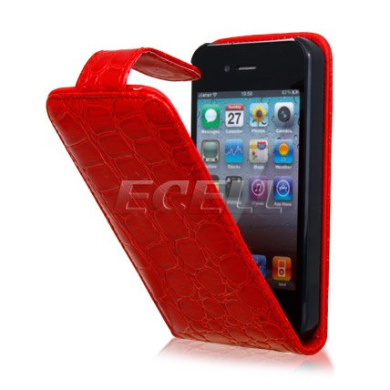 CROCODILE LEATHER FLIP CASE COVER FOR APPLE iPHONE 4 4G 4S FREE SHIPPING(China (Mainland))