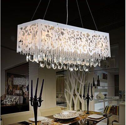 modern led creative carved rectangular crystal chandelier lamp living room dining room chandelier bar table - Dining Room Crystal Lighting