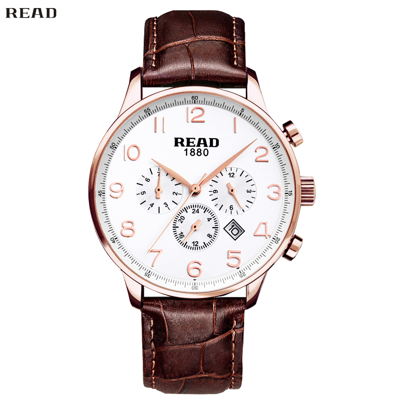 READ Men Leather Luxury Elegant Refinement Watch Multifunction Classic  Waterproof Quartz Watches Mirror Finish Dial R6029-71<br><br>Aliexpress