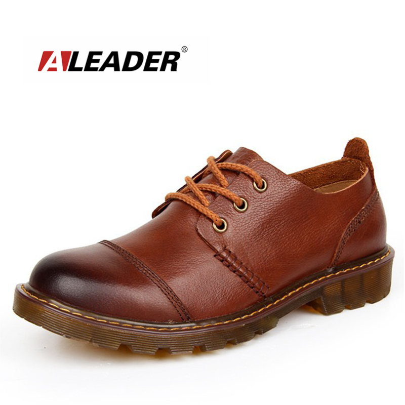 Aleader Men Leather Shoes Casual New 2016 Genuine Oxford Fashion Lace Dress Outdoor Work Shoe Sapatos - Brand Flagship Store store