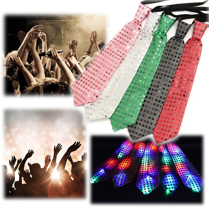 5 Colors LED Unisex Sparkly Elasticated Glitter Sequins Light Up Necktie Blinking Flash Lighting Tie Necktie Party Show Favor(China (Mainland))