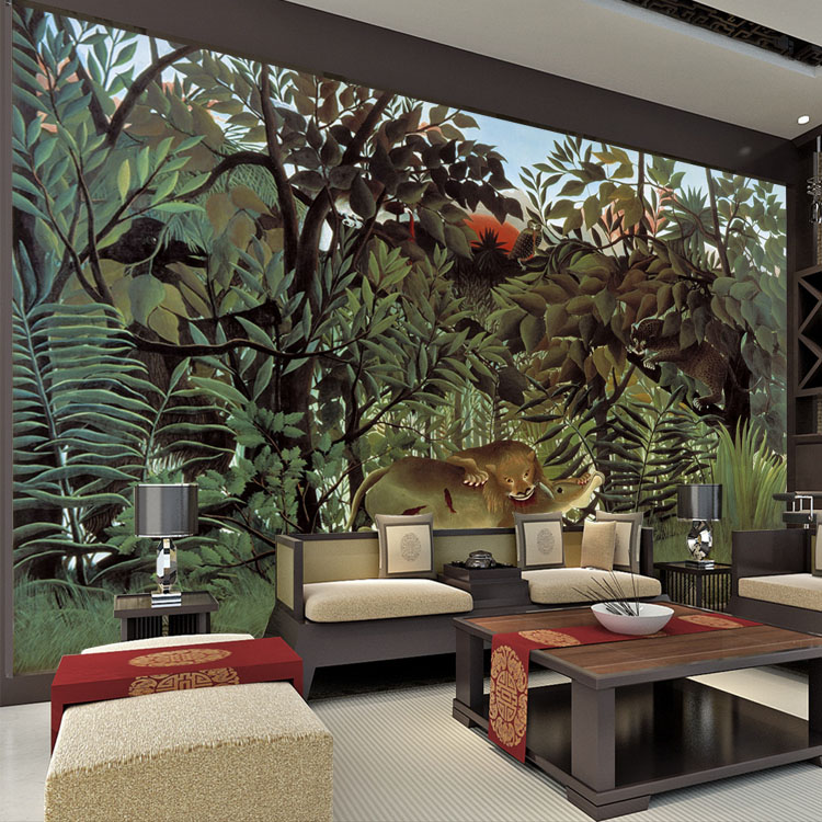 Buy rousseau jungle painting wallpaper for Custom wall mural