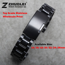 New Watch Band Womens Men 14mm 16mm 18mm 20mm 22mm 24mm Buckle Black Stainless Steel Watch Band Strap Straight End Bracelet