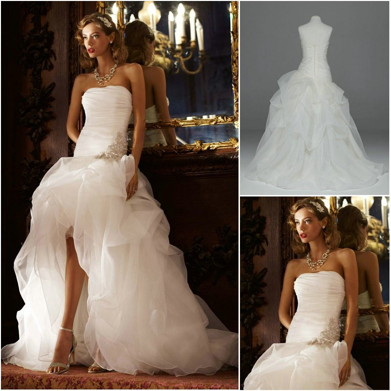 Fs001 exquisite strapless organza front short and long for Wedding dress free shipping