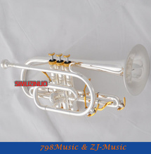Professional Silver Plated Cornet horn B-flat Double triggers Trumpet With Case(China (Mainland))