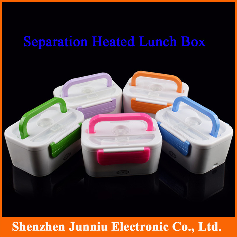 New Thermostatic Heated Lunch Box Electric Heating Lunch Box Electronic Boxes EU / US / Car Plug Large Capacity 5 Color and(China (Mainland))