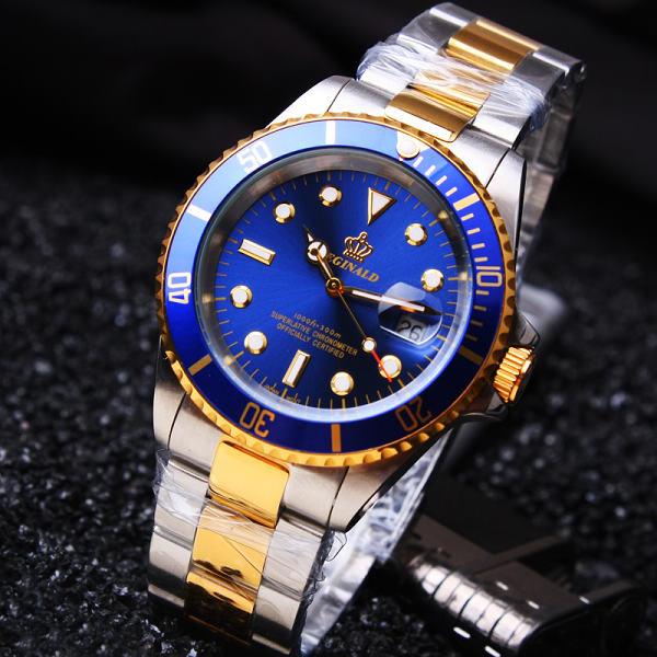 Роскошные Hk Корона Марка Мужчины Часы Вращающийся Ободок GMT Сапфир дата Золото Стали Спортивные Синий Циферблат Кварцевые Военные Часы Reloj Hombre