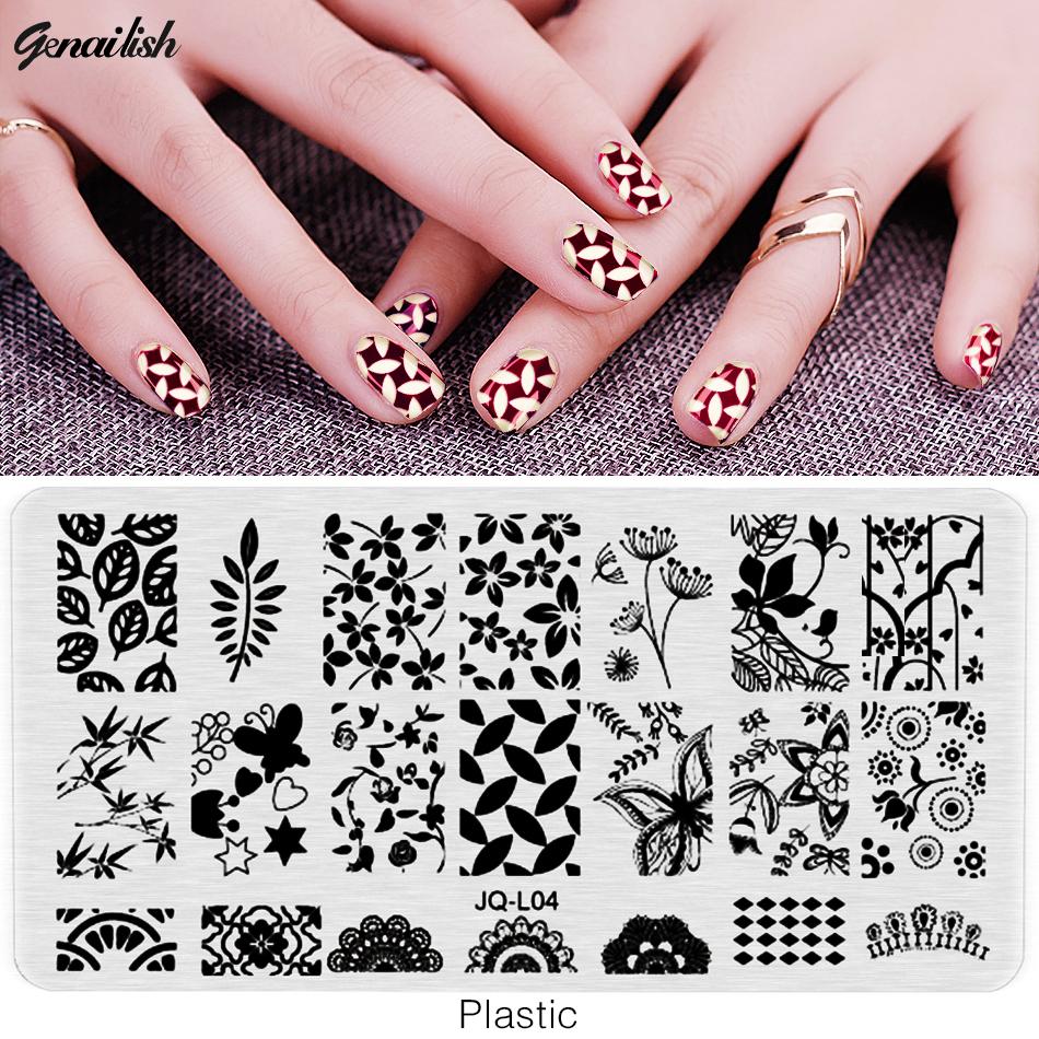 SJQL-Nail Stamping Plates Plastic Nails Art Stamp Plastic Templates for Nail Gel Polish