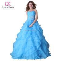 Grace Karin Yellow/Blue/ Fuchsia Strapless Organza Long Evening Dress 2015 Formal Evening Ball Gown vestido de festa longo 3411