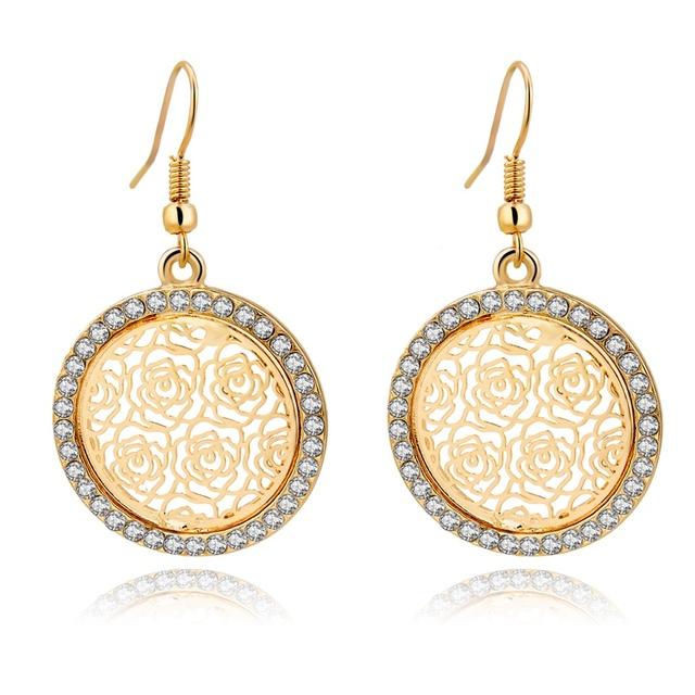 Boda pendientes Brincos marca joyería grandes pendientes dorado para las niñas gota cristalinos de la flor