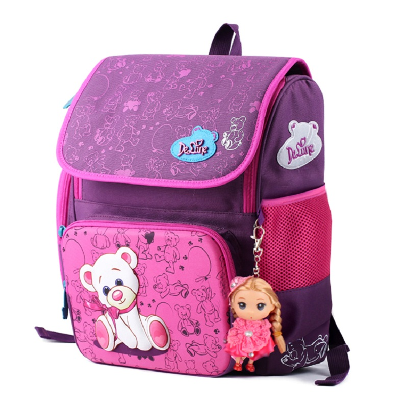 3D children Super light school bag free doll child students outdoor waterproof backpack girl large capacity travel cartoon bag(China (Mainland))