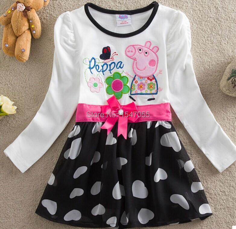 hot retail peppa pig girl wearing long sleeved cotton clothing girl princess tutu star seals