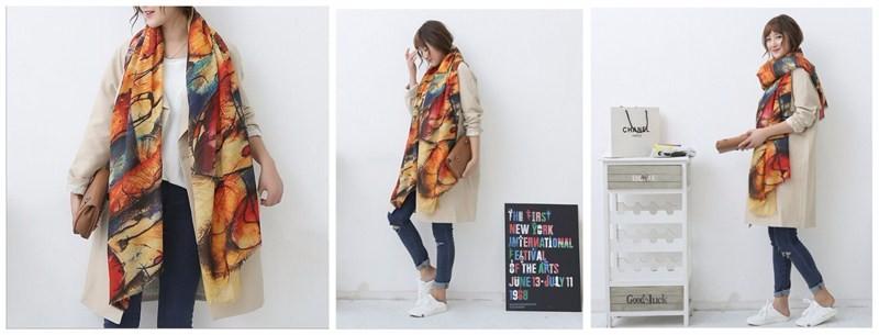 2016 Luxury Brand Woman Scarf Autumn and Winter New Style Graffiti Imitation Cashmere Scarf Soft Long Shawls and Wrap Big Tassel