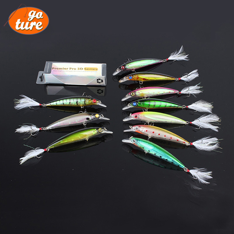 Гаджет  Hot Sale Saltwater Freshwater Hard Plastic Lure Diving Minnow with Feather Tail 10 Colors Bait 13.4g 11.5cm Hook 4# 2-4M None Спорт и развлечения
