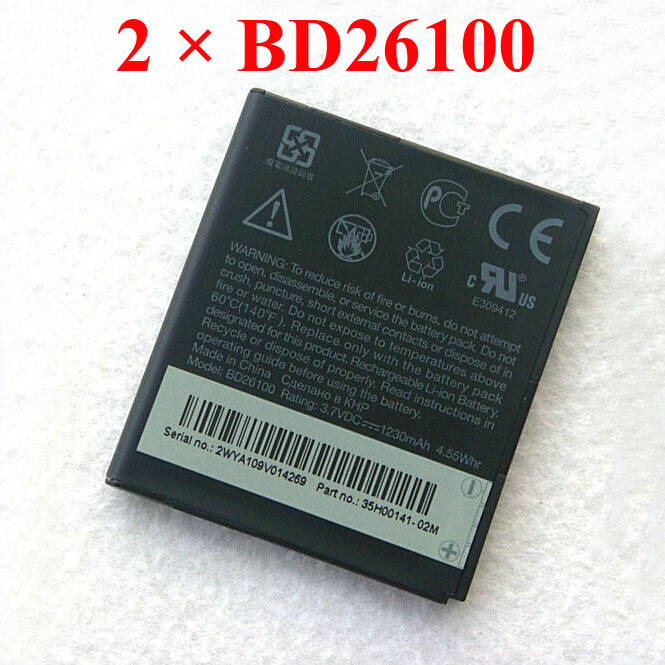 2 pcs 2pcs / lot BD26100 Battery For HTC G10 A9191 Desire HD Surround T8788 T9188 HuaShan T9199 Tianxi myTouch HD Batterie(China (Mainland))