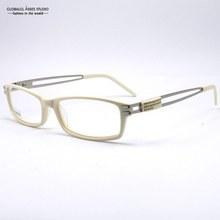 New Design Women Beige Frame With Shining Diamond Stainless Steel Temple Clean Lens Glass Optical Eyeglasses/Eyewear LX-B100350
