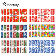 2015 New Christmas Theme Water Transfer Nail Stickers Decals 5pcs Charm DIY Nail Beauty Decoration Tools