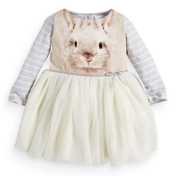 Fashion Style Sweet Baby Girls Toddler Kids Long Sleeve Tutu Dress Bunny Rabbit Dress New(China (Mainland))