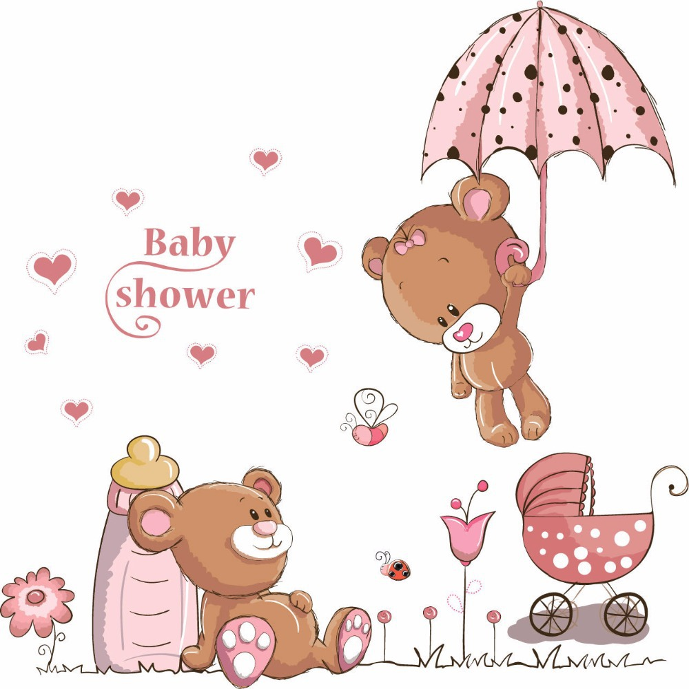 new diy cute teddy bear wall sticker for kids room cartoon pink teddy bear wall stickers art mural children s kids