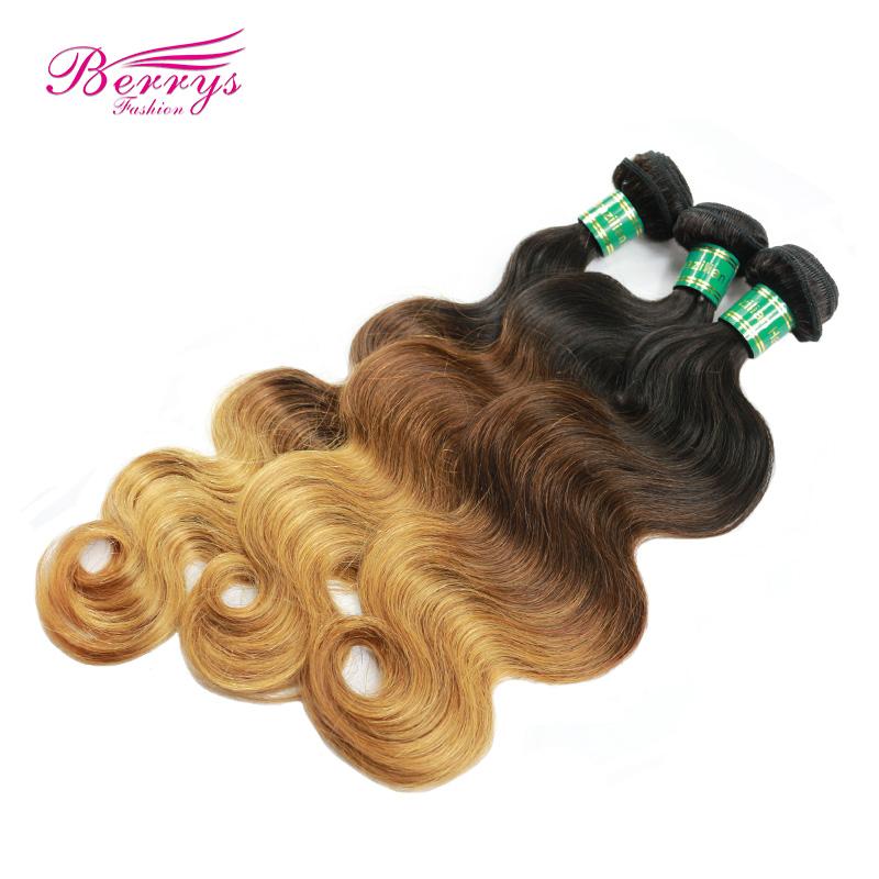 Brazilian body wave ombre hair three tone 1b & #4 & #27 hair , 100g/pcs 3pcs/lot,Berrys Fashion weave beauty, double wefts(China (Mainland))