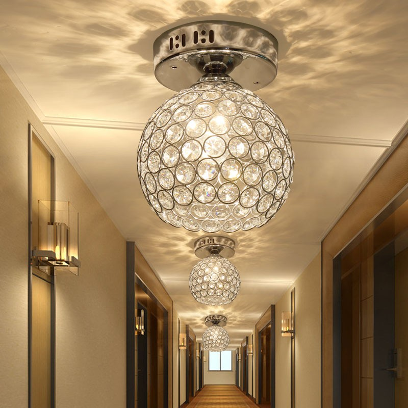 Silver k9 crystal ceiling light aisle lamp corridor for Balcony lights