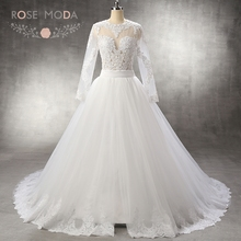Rose Moda Long Sleeves Mermaid Wedding Dress with Removable Tulle Overskirt Keyhole Back Destination Bridal Gown with Gold Sash(China (Mainland))