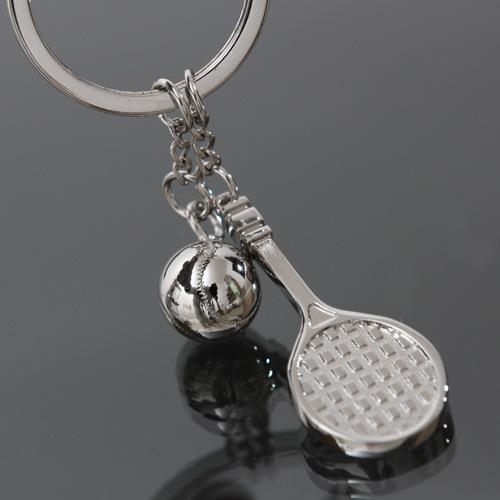 1pc diy creative novelty sport casual tennis racket ball fashion metal key ring keychain fancy key finder company Souvenir gift(China (Mainland))