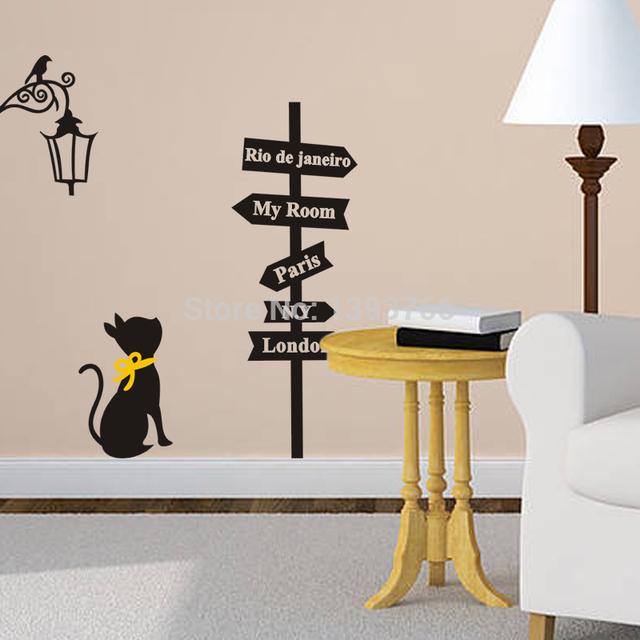 Бесплатная доставка популярные древние лампы кошки указатель стикер стены стены дома настенной росписи декора детская комната переводные картинки обои