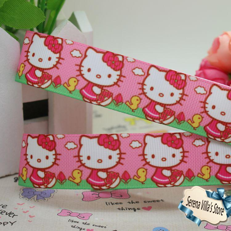new 7/8 kitty cartoon printed grosgrain ribbon hairbow diy party decoration for New Year 2014 gift wrap logo christmas(China (Mainland))