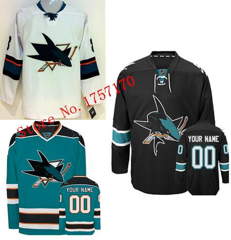 Sharks jersey,San jose sharks hockey jersey custom,personalized hockey jersey sharks embroidery quality free ships fast delivery(China (Mainland))