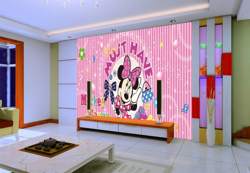 Custom 3d photo wallpaper Non-woven Mickey Mouse Minnie bow stripes TV setting wall wallpaper(China (Mainland))