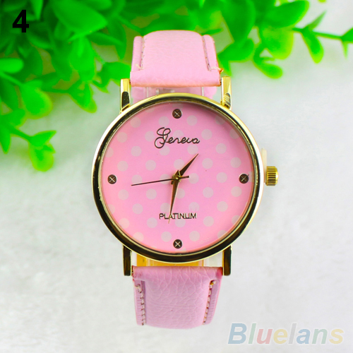 2014 new woman Colorful Girl's Women's Sweet Small Dots Geneva Leather Quartz Wrist Watch 01SV